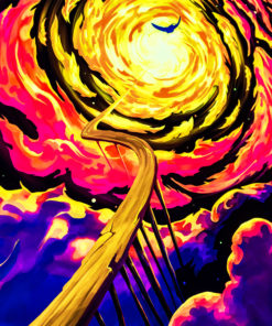 Trip to Nebula - Psychedelic Fluorescent UV-Reactive Backdrop Tapestry Blacklight Wall Hanging - Details