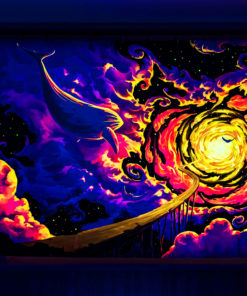Trip to Nebula - Psychedelic Fluorescent UV-Reactive Backdrop Tapestry Blacklight Wall Hanging