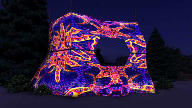 Abracadabra - DJ-booth Design - UV-Reactive Print on Lycra