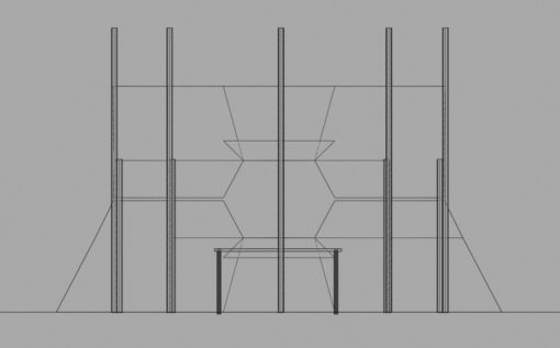 DJ-booth blueprint - front view