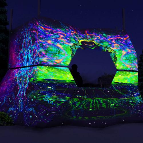 Enlightenment - DJ-booth Design - UV-Reactive Print on Lycra