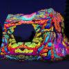 Hanuman - DJ-booth Design - UV-Reactive Print on Lycra