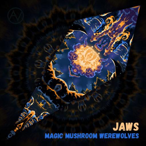 "Magic Mushroom Werewolves Psychedelic UV-Reactive Canopy - Petal Design - ""Jaws"""