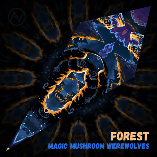 "Magic Mushroom Werewolves Psychedelic UV-Reactive Canopy - Petal Design - ""Forest"""