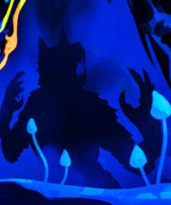 Magic Mushroom Werewolves Psychedelic Fluorescent UV-Reactive Backdrop Tapestry Blacklight Wall Hanging - Details