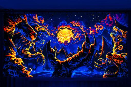 Magic Mushroom Werewolves Psychedelic Fluorescent UV-Reactive Backdrop Tapestry Blacklight Wall Hanging