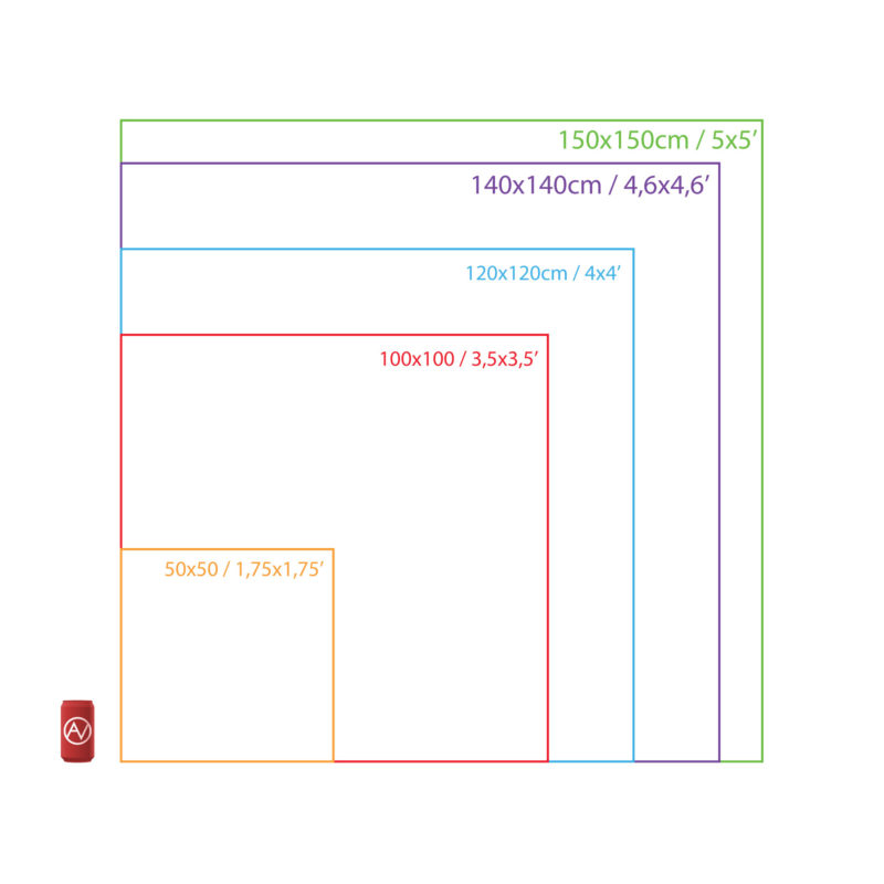 Square Tapestries Size Chart