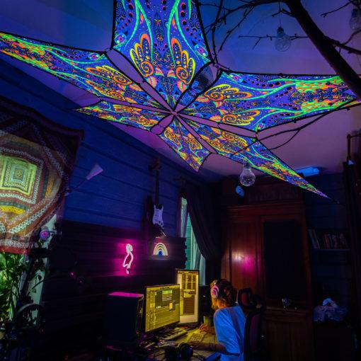 Jungle - Psychedelic UV-Reactive Ceiling Decoration Canopy 6 Petals
