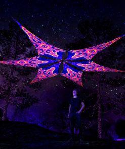 Big Star - Psychedelic UV-Reactive Ceiling Decoration Canopy - 6 Petals Set