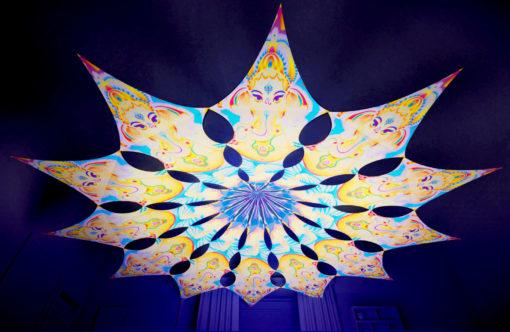 Lord Ganesha Psychedelic UV-Reactive Canopy - 12 petals set - Ganesha Blessing
