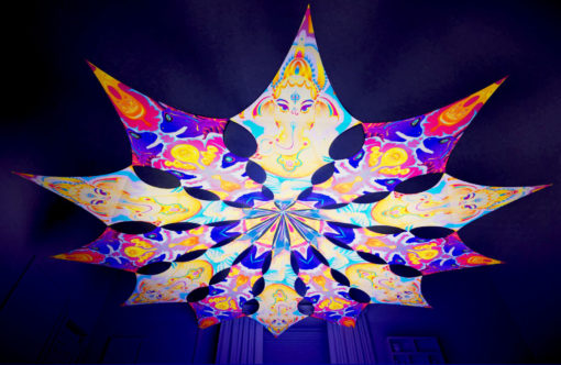 Lord Ganesha Psychedelic UV-Reactive Canopy - 12 petals set - Ganesha Blessing & Electric Madness