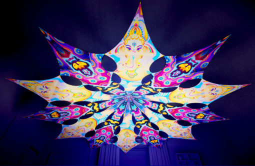 Lord Ganesha Psychedelic UV-Reactive Canopy - 12 petals set - Ganesha Blessing & Space Serpents