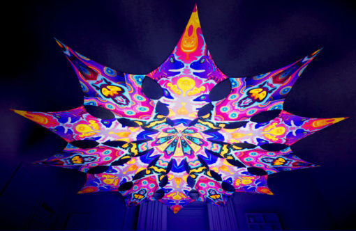 Lord Ganesha Psychedelic UV-Reactive Canopy - 12 petals set - Electric Madness & Space Serpents