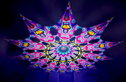 Lord Ganesha Psychedelic UV-Reactive Canopy - 12 petals set - Space Serpents
