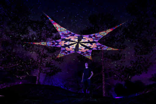 Temples - Psychedelic UV-Reactive Ceiling Decoration Canopy 6 Petals
