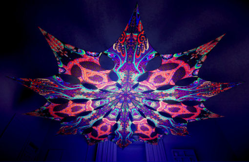 Jungle Snakes Psychedelic UV-Reactive Canopy - 12 petals set - Trippy Scales & Jungle