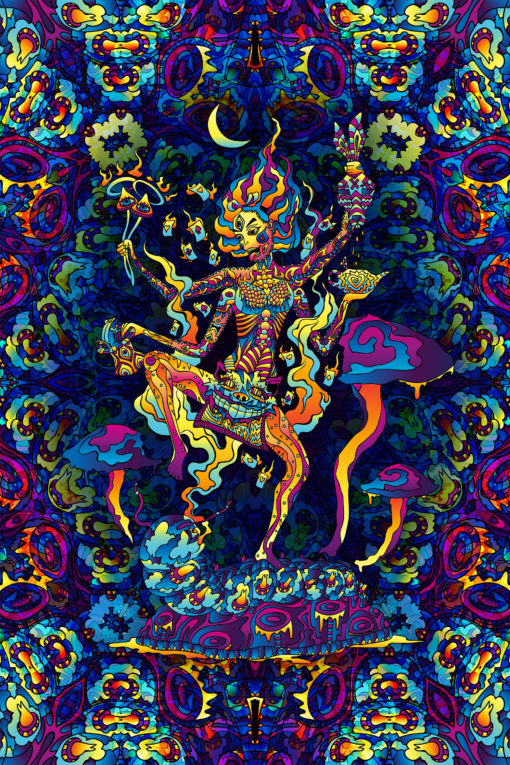 Kali in Acidland - Trippy Tapestry UV-Reactive Psychedelic Backdrop Wall Hanging