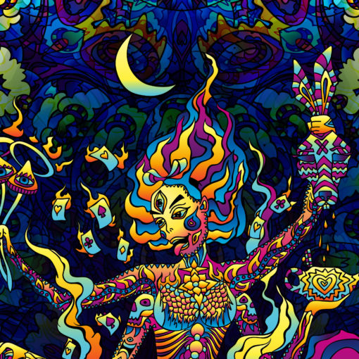 Kali in Acidland - Trippy Tapestry UV-Reactive Psychedelic Backdrop Wall Hanging - Closeup