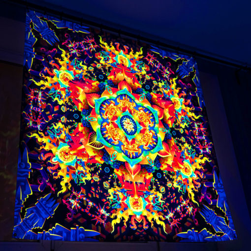Aztec Mushroom Mandala - Trippy Tapestry - Psychedelic UV-Reactive Backdrop - Wall Hanging