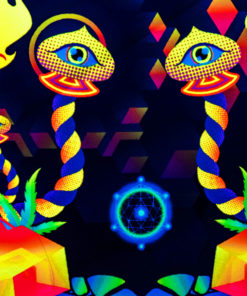 Aztec Mushroom Mandala - Trippy Tapestry - Psychedelic UV-Reactive Backdrop - Wall Hanging - Details