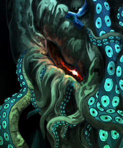 Cthulhu the Old One - Psychedelic Fluorescent UV-Reactive Backdrop Trippy Tapestry Blacklight Wall Hanging - Details