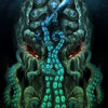 Cthulhu the Old One - Psychedelic Fluorescent UV-Reactive Backdrop Trippy Tapestry Blacklight Wall Hanging