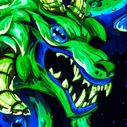 Shub-Niggurath - Psychedelic Fluorescent UV-Reactive Backdrop Tapestry Blacklight Wall Hanging - Details