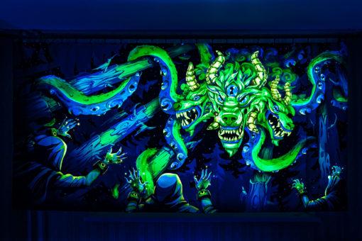 Shub-Niggurath - Psychedelic Fluorescent UV-Reactive Backdrop Tapestry Blacklight Wall Hanging