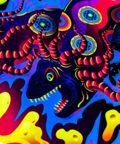 Lord Ganesh and Electric Eels Psychedelic Fluorescent UV-Reactive Backdrop Tapestry Blacklight Wall Hanging - Details