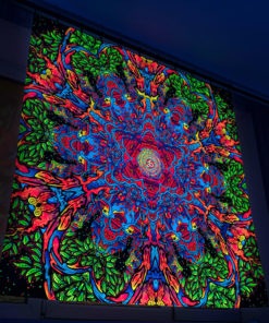 Hanuman Mandala Psychedelic Fluorescent UV-Reactive Backdrop Tapestry Blacklight Wall Hanging