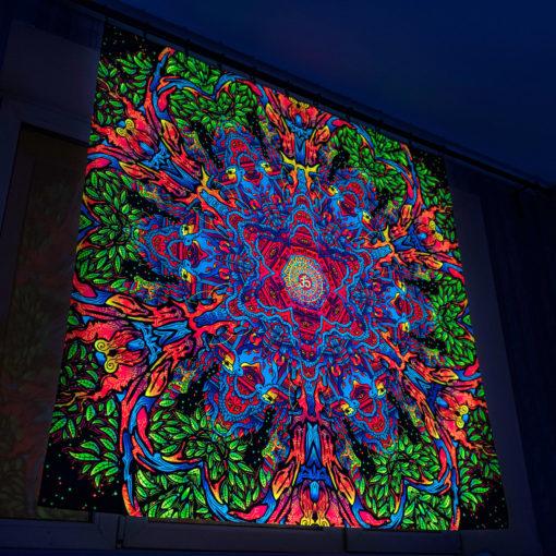 Hanuman Mandala Psychedelic Fluorescent UV-Reactive Backdrop Tapestry Blacklight Wall Hanging