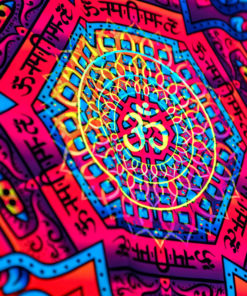 Hanuman Mandala Psychedelic Fluorescent UV-Reactive Backdrop Tapestry Blacklight Wall Hanging - Details