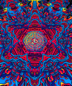 Hanuman Mandala Psychedelic Fluorescent UV-Reactive Backdrop Tapestry Blacklight Wall Hanging - Details