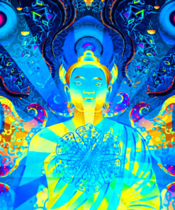Ocean Buddha Mandala Psychedelic Fluorescent UV-Reactive Backdrop Tapestry Blacklight Wall Hanging - Details