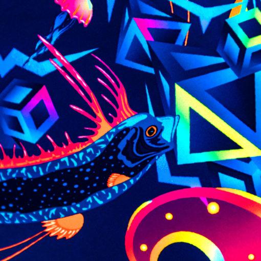 Ocean Buddha Mandala Psychedelic Fluorescent UV-Reactive Backdrop Tapestry Blacklight Wall Hanging - Details