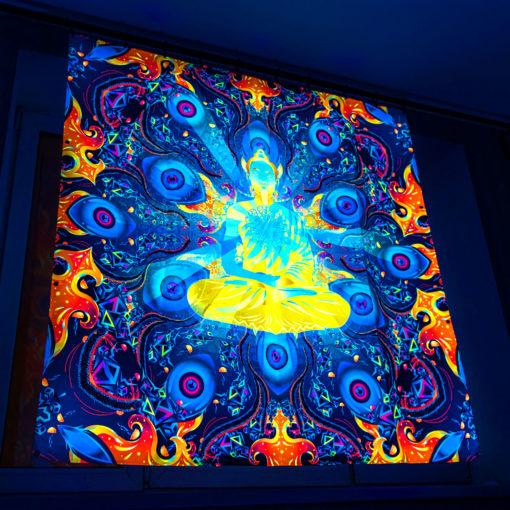 Ocean Buddha Mandala Psychedelic Fluorescent UV-Reactive Backdrop Tapestry Blacklight Wall Hanging