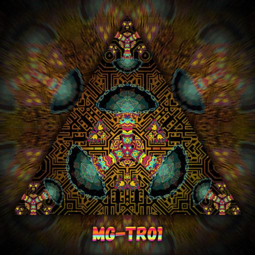 Magic Mushroom God - Triangle Design - TR01- UV-Print on Stretchable Lycra