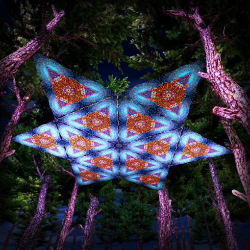 Magic Mushroom God UV-Triangles - TR02 - 12 Pieces - UV-Reactive Psychedelic Party Decoration - 3D Preview