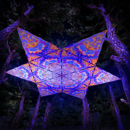 Lord Ganesha UV-Triangles - TR01 - 12 Pieces - UV-Reactive Psychedelic Party Decoration - 3D Preview