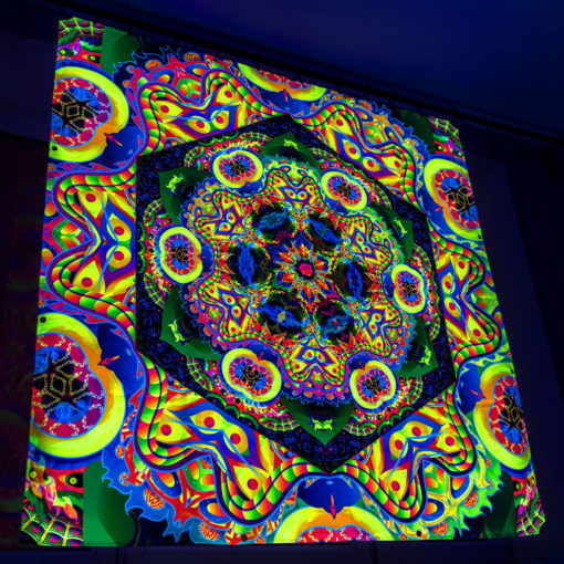 Bali Jungle Mandala Trippy Tapestry UV-Reactive Backdrop