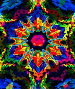 Bali Jungle Mandala Trippy Tapestry UV-Reactive Backdrop Closeup