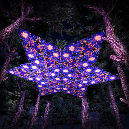 Magic Mushroom Werewolves UV-Triangles - TR01 - 12 Pieces - UV-Reactive Psychedelic Party Decoration - 3D Preview
