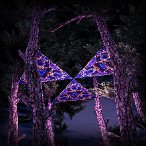 Magic Mushroom Werewolves UV-Triangles - TR03 - 3 Pieces - UV-Reactive Psychedelic Party Decoration - 3D Preview