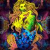 ZombPsy - the Psychedelic Zombie Mermaid - Trippy Tapestry UV-Reactive Backdrop