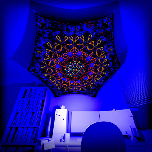 Kali in Acidland - Hexagon HX02 - Psychedelic UV-Reactive Canopy Part - 3D preview