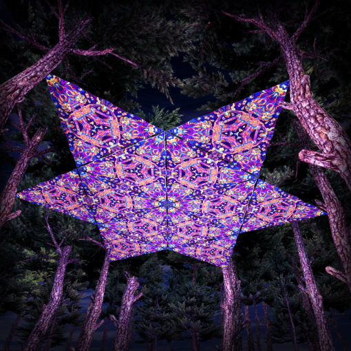 Kali in Acidland UV-Triangles - TR01 - 12 Pieces - UV-Reactive Psychedelic Party Decoration - 3D Preview