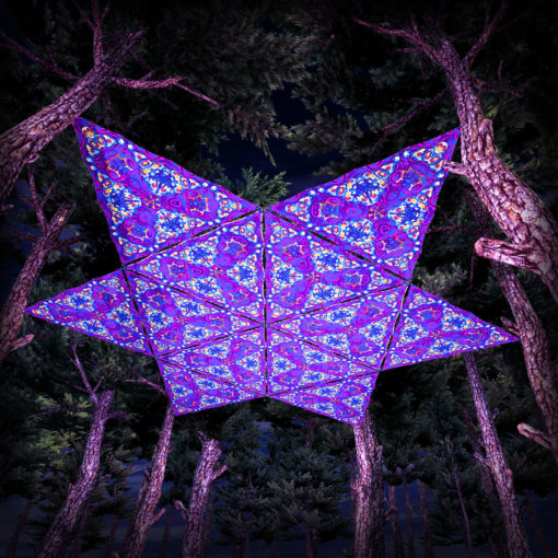 Kali in Acidland UV-Triangles - TR03 - 12 Pieces - UV-Reactive Psychedelic Party Decoration - 3D Preview