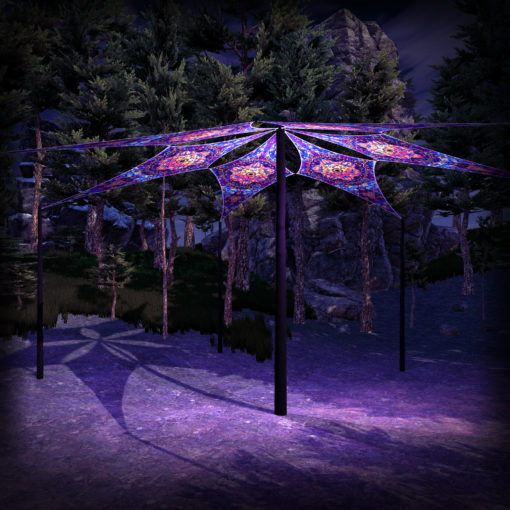 Fire Mushrooms - Psychedelic UV-Reactive Ceiling Decoration Canopy 6 Petals
