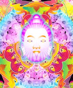 Wrathful Buddha Mandala Psychedelic Fluorescent UV-Reactive Backdrop Tapestry Blacklight Wall Hanging - Closeup