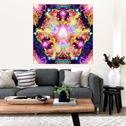 Wrathful Buddha Mandala Psychedelic Fluorescent UV-Reactive Backdrop Tapestry Blacklight Wall Hanging - Interior Preview
